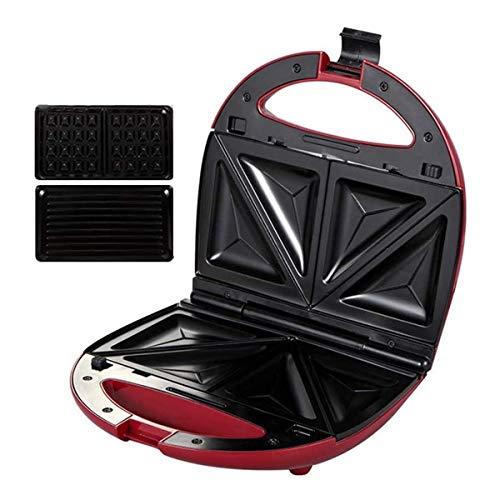 XIAOWEI Bandeja para Hornear eléctrica Sandwich Waffle y Maker con Placas de Revestimiento Antiadherente Profundo Control automático de Temperatura calentado uniformemente en Ambos Lados Ideal para