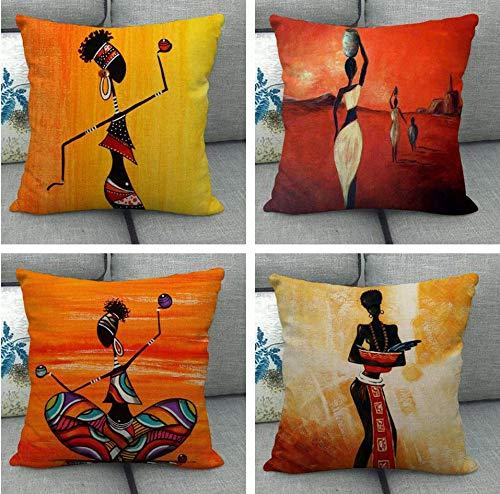 JgZATOA Pintura Al Óleo Mujer Africana Funda De Almohada Cojín Hogar Dormitorio Sofá Funda De Cojín Decoración De Coche 45 X 45 Cm Juego De 4