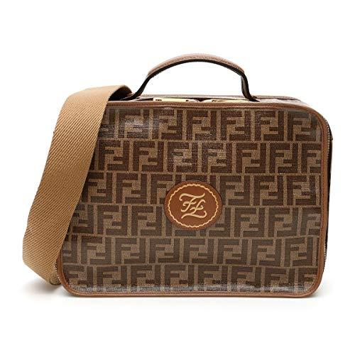 Fendi Glazed Fabric Signature Logo 1974 Karligraphy Brown Small Travel Bag 7VV137