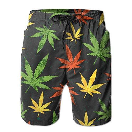 Desconocido Colorido Weed Leaf Patrón sin Costuras para Hombres/niños Pantalones Cortos Casual...