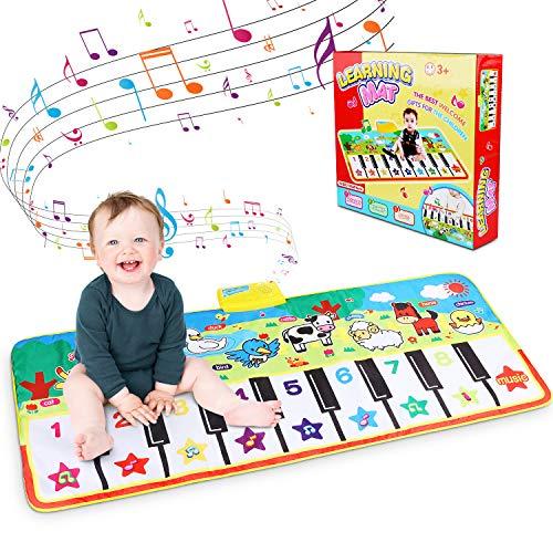 Piano Mat, Tanzmatten Klaviermatte Musikmatte Kinder 8 Tierstimmen Klaviertastatur Spielzeug Musik Matte, Keyboard Matten Spielteppich Baby Tanzmatte für Jungen Mädchen Kinder (135 x60cm)