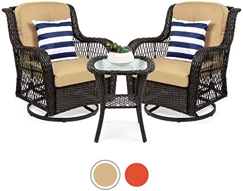 Best Best Choice Products 3-Piece Patio Wicker Bistro Furniture Set w/ 2 Cushioned Swivel Rocking Chairs,