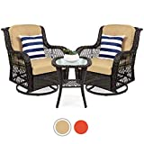 Best Choice Products 3-Piece Outdoor Wicker Patio Bistro Set w/ 2 360-Degree Swivel Rocking Chairs and Tempered Glass Top Side Table, Beige