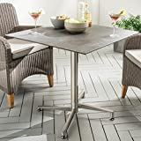 Destiny Tisch Loft Gartentisch 80 x 80 Edelstahl HPL Platte Gastrotisch Esstisch