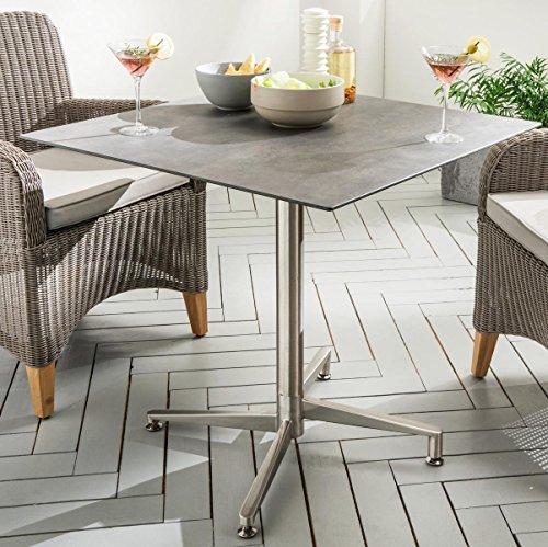 Destiny Tisch Loft Gartentisch 80 x 80 Edelstahl HPL Platte Gastrotisch Esstisch - Ohne Sessel - (765599)