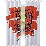 cortinas de dormitorio, Tren Duro Inspiracional Frase en Pincel Trazos Asiduidad Determinación, W52 x L95 Habitación Oscurecimiento Cortinas para Sala, Escarlata Negro Blanco