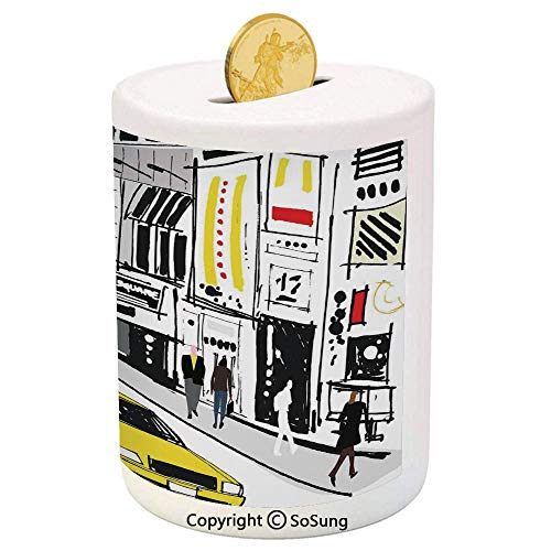 Modern Ceramic Piggy Bank,Times Square New York with People in Street Taxi Cabs Traffic Fashion Illustration 3D Printed Ceramic Coin Bank Money Box for Kids & Adults,Multicolor