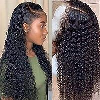 レースの人間の髪の毛のかつら、黒人女性のための巻き毛のレース前、人間の髪の毛のかつらかつらの水の波は、完全なロング深い前頭葉ブラジルのかつらウェットと波状HDをボブ,18inch