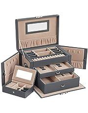SONGMICS szkatułka na biżuterię, z 2 szufladami, zamykany organizer na biżuterię z lustrem, wyjmowane pudełko podróżne, na pierścionki, bransoletki, kolczyki, aksamitna podszewka