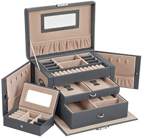 SONGMICS Jewelry Box for Women, Jewelry Organizer with 2 Drawers, Lockable Jewelry Case with Mirror, Portable Travel Case, for Rings, Earrings, Necklaces, Gift, Black UJBC121B