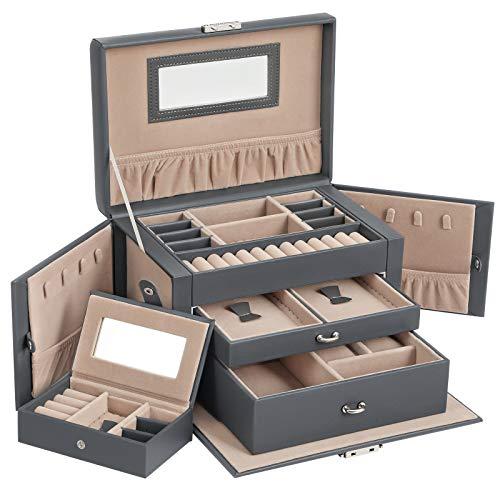 SONGMICS Schmuckkasten, Schmuckkästchen mit 2 Schubladen, abschließbarer Schmuck-Organizer mit Spiegel, herausnehmbare Reise-Box, für Ringe, Armbänder, Ohrringe, Samtfutter, grau JBC121G01