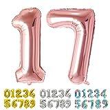 Ponmoo Foil Globo Número 17 71 Oro Rosa, Gigante Numeros 0 1 2 3 4 5 6 7 8 9 10-19 20-29 30 40 50 60 70 80 90 100, Grande Globos para La Boda Aniversario, Globo de Cumpleaños Fiesta Decoración