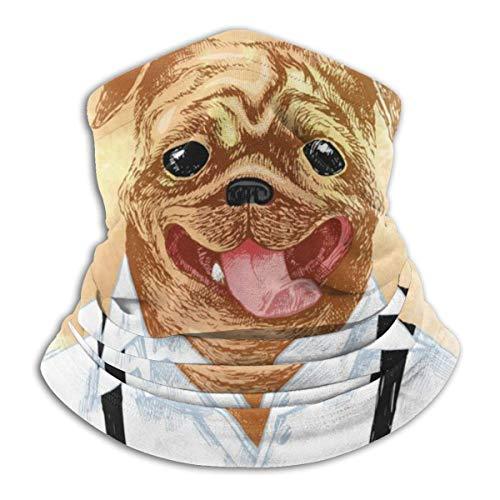 AEMAPE Pug Disfrazado a Mano en Estilo Hip-ster (2) Calentador de Cuello Sombreros Bufanda Envoltura para la Cabeza, Polaina para el Cuello, Bandana