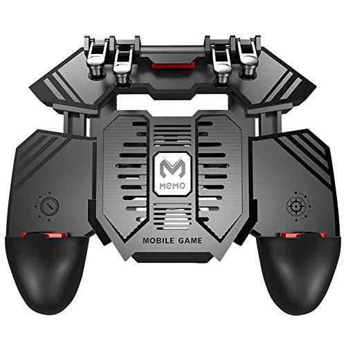 Domybest - Mando de juego móvil con 6 dedos, controlador de juego móvil con ventilador de refrigeración para gamepad PUBG