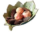 Ciotole per insalata e frutta,, Ceramica, A forma di foglia verde 45x35x15cm