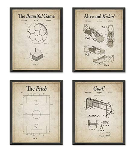 Vintage Soccer Futbol Football Wall Patent Art Prints with Slogans, Set of 4, Unframed, Soccer Ball, Cleat, Goal, Pitch Patent Wall Decor Art, All Sizes