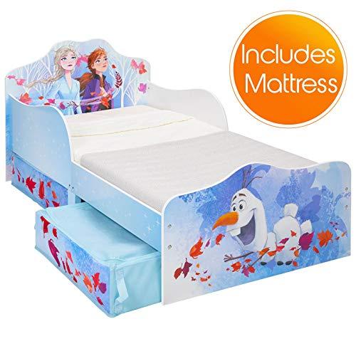 Worlds Apart Disney Frozen 2 Kleinkind Bett mit Lagerung Plus Deluxe Schaum Matratze