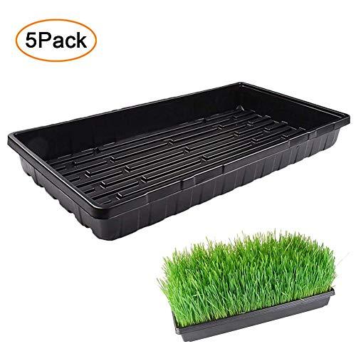 Esplic 5 Pack Pflanzenwachstabletts, Kunststoff-Saatgutschale Sämling Starter Für Gewächshaus, Hydrokultur, Setzlinge, Pflanzenkeimung, Starter Für Vermehrungssaatgut, Futter, Microgreens Schwarz