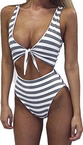 Farktop Women High Waisted Swimsuit Sexy One Piece Padded Bikini Swimwear Tie Front,Grey,X-Large
