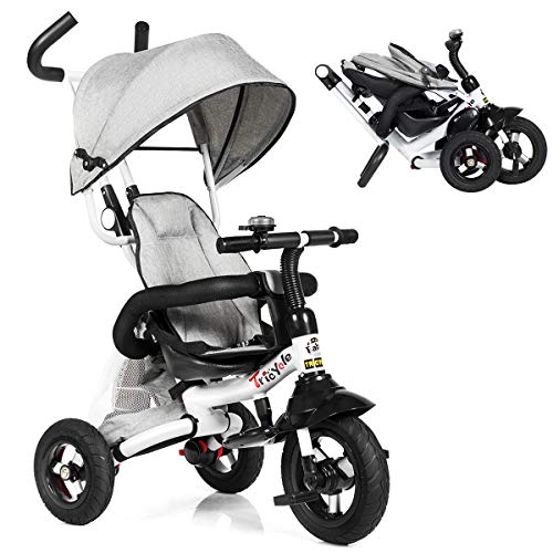 Costzon Baby Tricycle, 6-in-1 Foldable Steer Stroller, Learning Bike w/Detachable Guardrail, Adjustable Canopy, Safety Harness, Folding Pedal, Storage Bag, Brake, Shock Absorption Design (Gray)