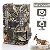 WOSPORTS Trail Camera 16MP 1080P Hunting Game Camera, Wildlife Camera with Upgraded 850nm IR LEDs Night Vision 65ft, 2.0''LCD for Home Security Wildlife Monitoring/Hunting (Trail camera-100mc)