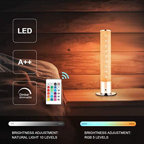 Oraymin 6W LED Tischlampe Dimmbar, Tischleuchte Kristall Nachtlicht mit Fernbedienung Wechselnde Farbe15 RGB für das Wohnzimmer Fernsehzimmer Schlafzimmer Spielzimmer, Höhe 30CM