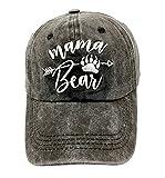 LOKIDVE Women's Mama Bear Arrow Baseball Hat Embroidered Washed Denim Mom Cap