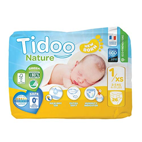 Couches Écologiques Night & Day | T1/XS | Newborn 2-5 kg | 26 Couches | Tidoo