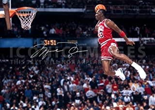 Iconic Images (11.7 X 8.3) Michael Jordan NBA Chicago Bulls Print Signed (Pre-Print Autograph)