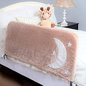 Premium Bed Rail for Toddlers – Plus Beautiful Cover with Inside Pocket   Safety Side Guard Rail for Kids, 43″ Beige   Fits Twin Bed Double Full Size Queen & King by Cosie Covers