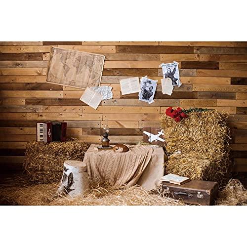 Fondo fotográfico Antiguo almacén de Madera Pared pajar Maleta bebé recién Nacido Retrato fotografía telón de Fondo para Estudio fotográfico-180x120cm