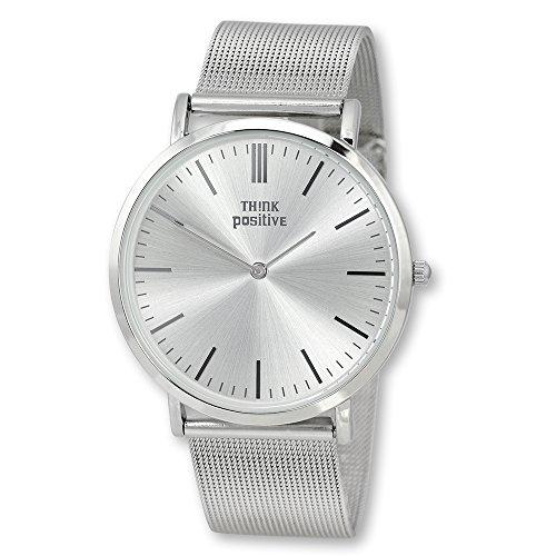 Think Positive UTP5055J, orologio da polso elegante da donna in acciaio inox, colore argento classico