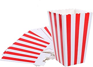 Red Striped Popcorn Boxes - Carnival Parties Mini Paper Popcorn and Candy Containers, Party Supplies for Movie Nights (Pac...