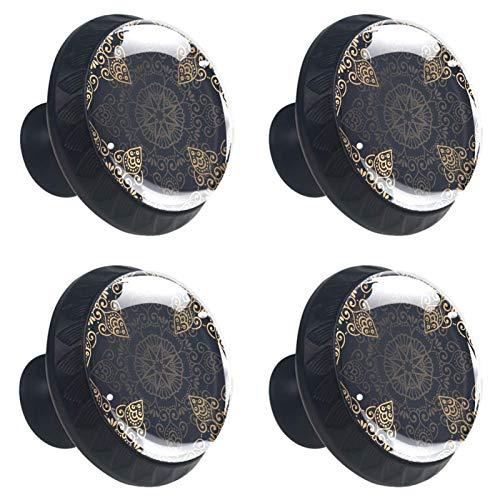 4 pomos de cristal para armario de 30 mm, tiradores de cristal para cajones, tiradores de cajón de cristal para cocina, baño, hermoso círculo geométrico