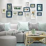 Fotowand-Fotorahmen Moderner Fotorahmen Wandkombination Wand-Fotorahmen Aus Holz Flur Wohnzimmer-Set 13 (Farbe: Blau Und Weiß)