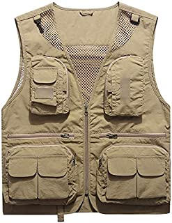 Vest for Men/Thin Summer Wear Male Summer Fishing Vest Photography Photography Loose Vest Breathable Mesh (Color : Beige, Size : 5XL)