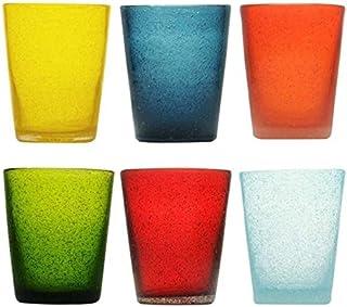 Memento Lot de 6 verres à eau en verre coloré