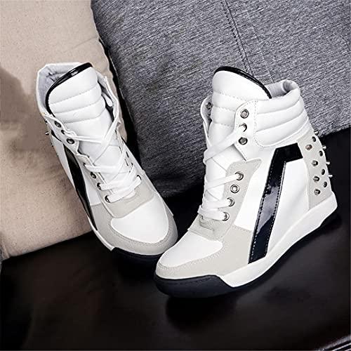 Oceansee Remaches Negro Blanco Hidden Cuña Tacones Casual Zapatos Altos Zapatos Top Entrenadores Mujeres White 7