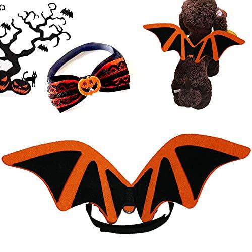 Chien Chat Bat Wings, Animaux de Compagnie Ailes de Chauve Souris, Halloween Costume de Chauve Souris pour Animaux de Compagnie avec Citrouille nœud Papillon, Chien Chat Vêtements Cosplay Bat