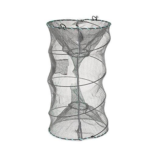 RUNACC Portable Folded Fishing Net Zipper Net Shrimp Carp Crayfish Crab Baits Cast Mesh Trap, Black …