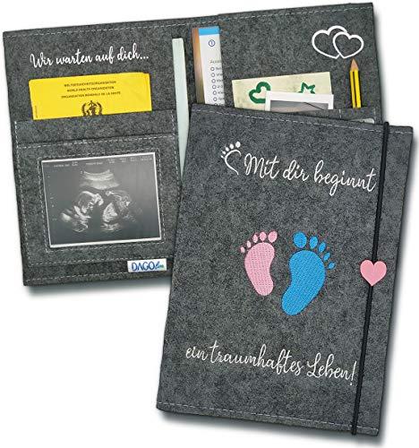 DAGOline Mutterpasshülle aus Filz Handmade mit Fächer für Ultraschallbild, Mutterpass, Versichertenkarte, Impfpass + Checklisten als Geschenke - Mama Hülle Mappe für Schwangerschaft (Grau)