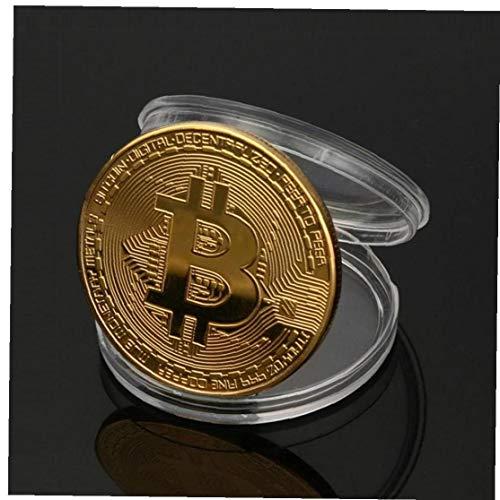 AMOYER Arte del Oro Plateado Colección De Moneda Bitcoin Inicio Cuarto De Decoración