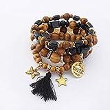 Aligeya Mehrschicht-Armband Persönlichkeit Schmetterling Stern Retro Holz Perle String Hand String
