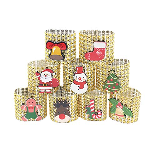 Amosfun 9pcs anillos de servilleta de navidad servilleteros
