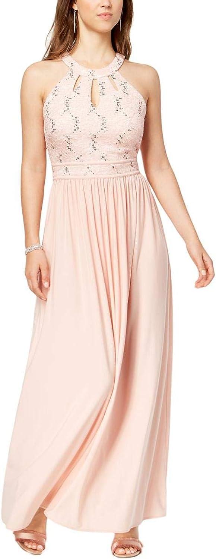 Nightway Womens Sequined Halter Evening Dress