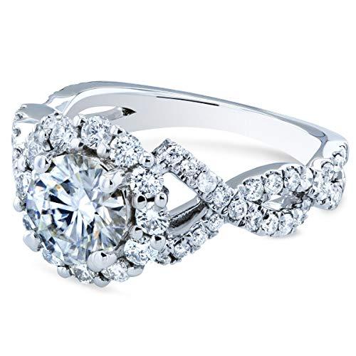 Kobelli Double Braided Cross Shank Halo Diamond and Moissanite Engagement Ring 1-4/5 Carat TW 14k White Gold, 10.5