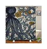 ANAZOZ Duschvorhang 3D-Effekt Wasserdicht, Anti Schimmel, Waschbar Umweltfre&lich mit 12 Duschvorhangringen Polyester Große Krake mit Blume Bad Vorhang für Badezimmer Badewanne 165X200CM A14147