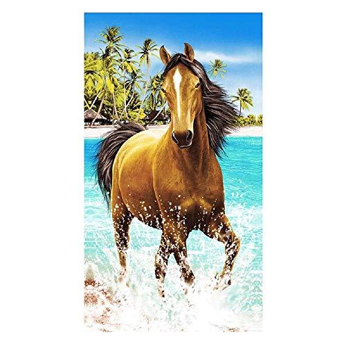 Strandtuch Microfaser Handtuch Extra Groß Badetuch 100x180cm für Damen Kinder Dünn Ultraleicht Duschtücher Ideal für Reisen Fitness Yoga Sauna Pferd Blau Bedruckt
