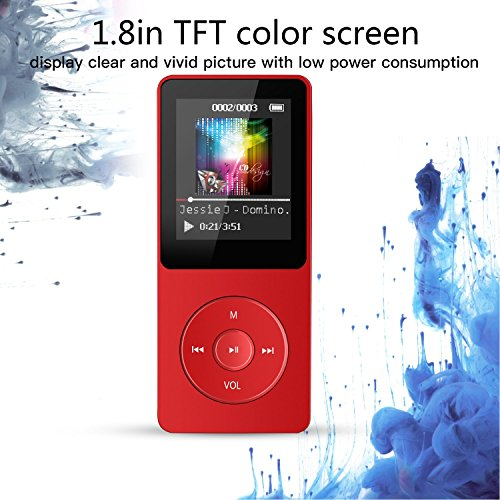 AGPTEK A02 8GB MP3 Player, Lossless Sound 70 Hours Playback Music Player,Supports up to 128GB,Red