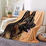 Manta para Sofá Mascota Pastor de Franela Suave 3D Impresión Manta Cama Bebe Polar 100% Microfibra Extra Suave,Manta de sofá de Cama Sala de Estar-100x130cm